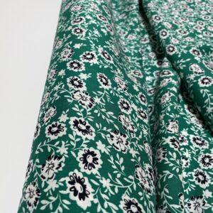 Batist de bumbac verde cu imprimeu floral