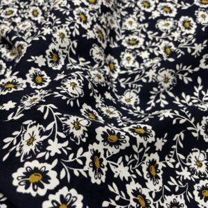 Batist de bumbac negru cu imprimeu floral