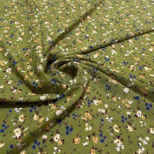 Batist de bumbac verde-lime cu imprimeu floral