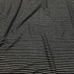 Batist de bumbac negru cu dungi albe