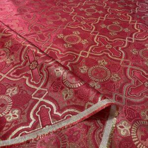 Brocart cruci rosu cu fir lame auriu