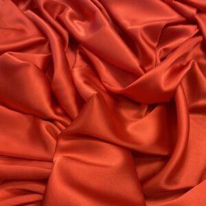 Satin de matase naturala cu elastan rosu-orange