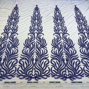 Dantela albastru royal accesorizata cu margele si paiete