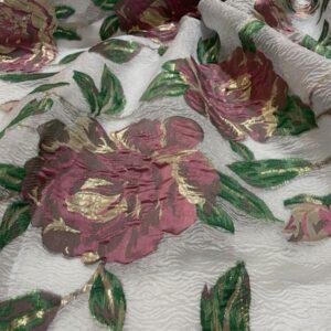 Organza bleu pastel cu flori roz