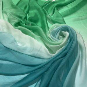 Voal chiffon de matase naturala degrade verde-turcoaz