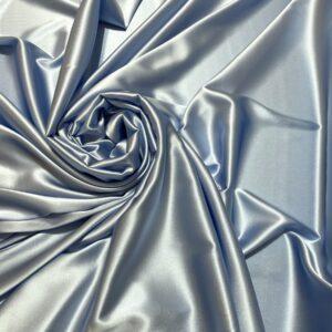 Satin de matase naturala cu elastan bleu