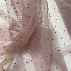 Tulle roz-lila cu perle