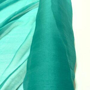 Voal creponat de matase naturala (muselina) verde aqua