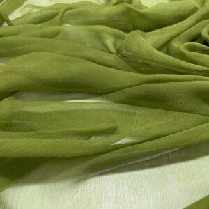 Voal de matase naturala creponat (muselina) verde-lime