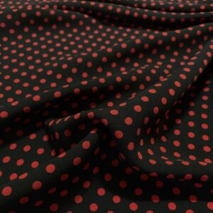 Tesatura tip viscoza neagra cu imprimeu buline rosii
