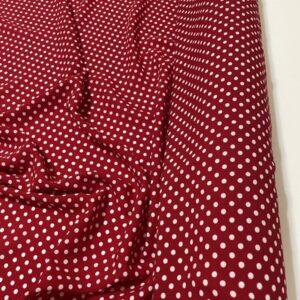 Tesatura tip viscoza rosie cu imprimeu buline albe