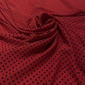Tesatura tip viscoza rosie cu imprimeu buline negre