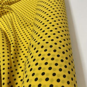 Tesatura tip viscoza galbena cu imprimeu buline negre